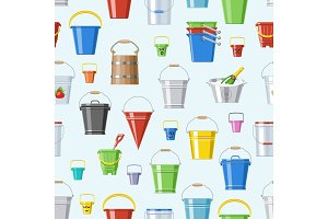 Bucket vector bucketful or wooden pailful and kids plastic pail for playing empty or with water bucketing down in garden and bitbucket for gardening set illustration seamless pattern background