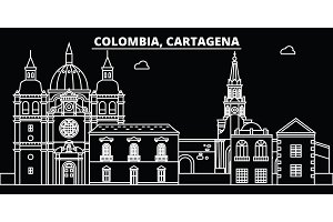 Cartagena silhouette skyline. Colombia - Cartagena vector city, colombian linear architecture, buildings. Cartagena line travel illustration, landmarks. Colombia flat icon, colombian outline design