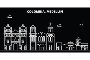 Medellin silhouette skyline. Colombia - Medellin vector city, colombian linear architecture, buildings. Medellin line travel illustration, landmarks. Colombia flat icon, colombian outline design