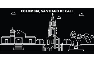 Santiago de Cali skyline. Colombia - Santiago de Cali vector city, colombian linear architecture. Santiago de Cali travel illustration, outline landmarks. Colombia flat icon, colombian line banner