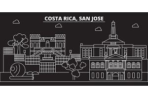 San Jose skyline. Costa Rica - San Jose vector city, costa rican linear architecture, buildings. San Jose travel illustration, outline landmarks. Costa Rica flat icon, costa rican line banner
