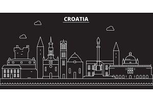 Croatia silhouette skyline. Croatia vector city, croatian linear architecture, buildingline travel illustration, landmarkflat icon, croatian outline design banner