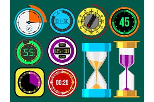 Clock watches vector timer colorful measurement tools number digital information stopwatch illustration