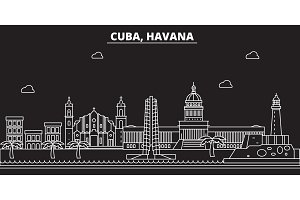 Havana silhouette skyline. Cuba - Havana vector city, cuban linear architecture, buildings. Havana travel illustration, outline landmarks. Cuba flat icon, cuban line banner