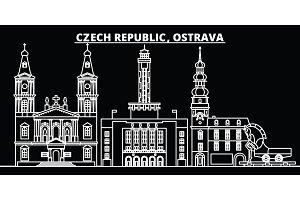 Ostrava silhouette skyline. Czech Republic - Ostrava vector city, czech linear architecture, buildings. Ostrava travel illustration, outline landmarks. Czech Republic flat icon, czech line banner
