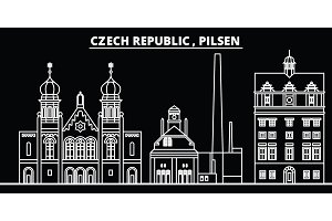 Pilsen silhouette skyline. Czech Republic - Pilsen vector city, czech linear architecture, buildings. Pilsen travel illustration, outline landmarks. Czech Republic flat icon, czech line banner