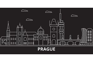 Prague city silhouette skyline. Czech Republic - Prague city vector city, czech linear architecture. Prague city travel illustration, outline landmarks. Czech Republic flat icon, czech line banner