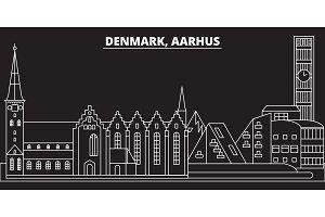 Aarhus silhouette skyline. Denmark - Aarhus vector city, danish linear architecture, buildings. Aarhus travel illustration, outline landmarks. Denmark flat icon, danish line banner