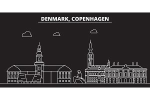 Copenhagen silhouette skyline. Denmark - Copenhagen vector city, danish linear architecture, buildings. Copenhagen travel illustration, outline landmarks. Denmark flat icon, danish line banner