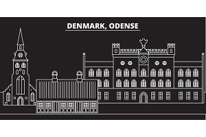 Odense silhouette skyline. Denmark - Odense vector city, danish linear architecture, buildings. Odense travel illustration, outline landmarks. Denmark flat icon, danish line banner