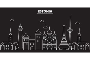 Estonia silhouette skyline. Estonia vector city, estonian linear architecture, buildingline travel illustration, landmarkflat icon, estonian outline design banner