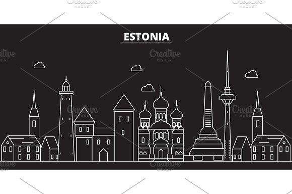Estonia silhouette skyline. Estonia vector city, estonian linear architecture, buildingline travel illustration, landmarkflat icon, estonian outline design banner