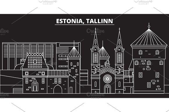 Tallinn silhouette skyline. Estonia - Tallinn vector city, estonian linear architecture, buildings. Tallinn travel illustration, outline landmarks. Estonia flat icon, estonian line banner