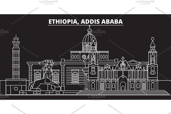 Addis ababa silhouette skyline. Ethiopia - Addis ababa vector city, ethiopian linear architecture, buildings. Addis ababa travel illustration, outline landmarks. Ethiopia icon, ethiopian line banner