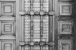Ancient Door Detail Black White