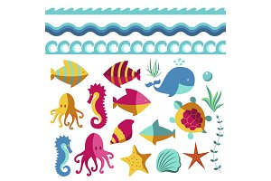 Nautical animal elements wave ocean sea blue marine vector illustration.