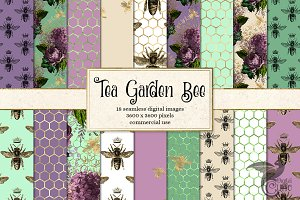 Tea Garden Bee Digital Paper
