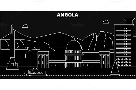 Angola silhouette skyline. Angola vector city, angolan linear architecture, buildingline travel illustration, landmarkflat icon, angolan outline design banner