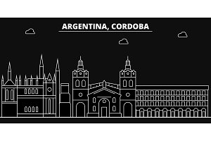 Cordoba silhouette skyline. Argentina - Cordoba vector city, argentinian linear architecture, buildings. Cordoba line travel illustration, landmarks. Argentina flat icon, argentinian outline design