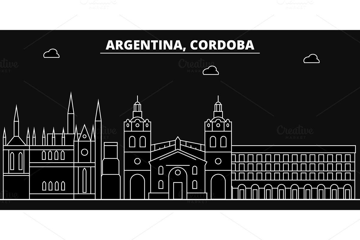 Cordoba silhouette skyline. Argentina - Cordoba vector city, argentinian linear architecture, buildings. Cordoba line travel illustration, landmarks. Argentina flat icon, argentinian outline design in Illustrations