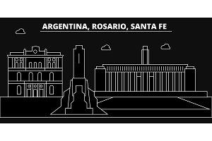 Rosario, Santa Fe, silhouette skyline. Argentina - Rosario, Santa Fe, vector city, argentinian linear architecture, buildings. Rosario, Santa Fe, line travel illustration, landmarks.