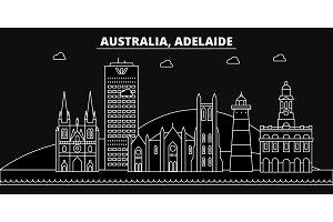 Adelaide silhouette skyline. Australia - Adelaide vector city, australian linear architecture, buildings. Adelaide travel illustration, outline landmarks. Australia flat icon, australian line banner