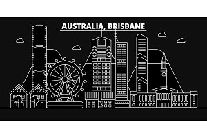 Brisbane silhouette skyline. Australia - Brisbane vector city, australian linear architecture, buildings. Brisbane travel illustration, outline landmarks. Australia flat icon, australian line banner