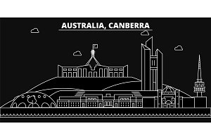 Canberra silhouette skyline. Australia - Canberra vector city, australian linear architecture, buildings. Canberra travel illustration, outline landmarks. Australia flat icon, australian line banner