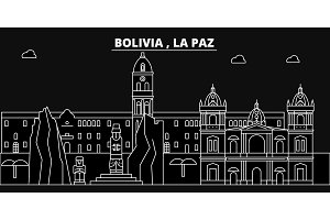 La Paz silhouette skyline. Bolivia - La Paz vector city, bolivian linear architecture, buildings. La Paz travel illustration, outline landmarks. Bolivia flat icon, bolivian line banner