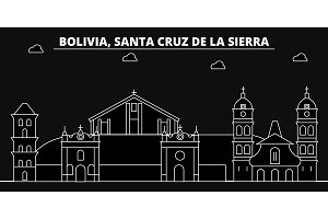 Santa Cruz de la Sierra silhouette skyline. Bolivia - Santa Cruz de la Sierra vector city, bolivian linear architecture, buildings. Santa Cruz de la Sierra travel illustration, outline landmarks
