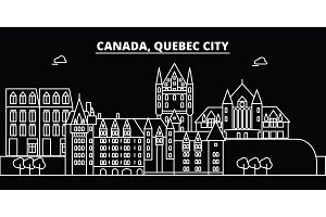 Quebec City silhouette skyline. Canada - Quebec City vector city, canadian linear architecture, buildings. Quebec City travel illustration, outline landmarks. Canada flat icon, canadian line banner