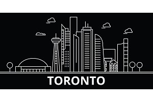 Toronto silhouette skyline. Canada - Toronto vector city, canadian linear architecture, buildings. Toronto travel illustration, outline landmarks. Canada flat icon, canadian line banner