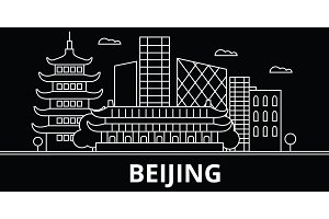 Beijing silhouette skyline. China - Beijing vector city, chinese linear architecture, buildings. Beijing travel illustration, outline landmarks. China flat icon, chinese line banner