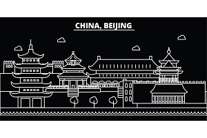 Beijing city silhouette skyline. China - Beijing city vector city, chinese linear architecture, buildings. Beijing city travel illustration, outline landmarks. China flat icon, chinese line banner
