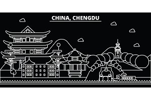 Chengdu silhouette skyline. China - Chengdu vector city, chinese linear architecture, buildings. Chengdu travel illustration, outline landmarks. China flat icon, chinese line banner