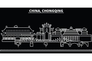 Chongqing silhouette skyline. China - Chongqing vector city, chinese linear architecture, buildings. Chongqing travel illustration, outline landmarks. China flat icon, chinese line banner