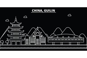 Guilin silhouette skyline. China - Guilin vector city, chinese linear architecture, buildings. Guilin travel illustration, outline landmarks. China flat icon, chinese line banner
