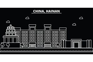 Hainan silhouette skyline. China - Hainan vector city, chinese linear architecture, buildings. Hainan line travel illustration, landmarks. China flat icon, chinese outline design banner