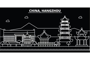 Hangzhou silhouette skyline. China - Hangzhou vector city, chinese linear architecture, buildings. Hangzhou travel illustration, outline landmarks. China flat icon, chinese line banner
