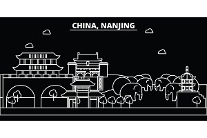 Nanjing silhouette skyline. China - Nanjing vector city, chinese linear architecture, buildings. Nanjing travel illustration, outline landmarks. China flat icon, chinese line banner