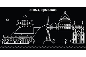 Qingdao silhouette skyline. China - Qingdao vector city, chinese linear architecture, buildings. Qingdao travel illustration, outline landmarks. China flat icon, chinese line banner