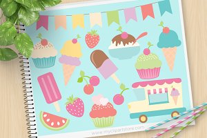 Ice-Cream Sorbet, Cupcake Clipart