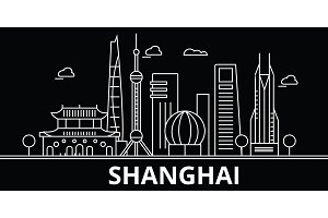 Shanghai silhouette skyline. China - Shanghai vector city, chinese linear architecture, buildings. Shanghai travel illustration, outline landmarks. China flat icon, chinese line banner