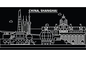 Shanghai city silhouette skyline. China - Shanghai city vector city, chinese linear architecture, buildings. Shanghai city travel illustration, outline landmarks. China flat icon, chinese line banner