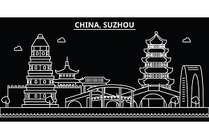 Suzhou silhouette skyline. China - Suzhou vector city, chinese linear architecture, buildings. Suzhou travel illustration, outline landmarks. China flat icon, chinese line banner