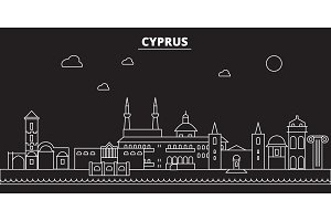 Cyprus silhouette skyline. Cyprus vector city, cypriot linear architecture, buildingline travel illustration, landmarkflat icon, cypriot outline design banner