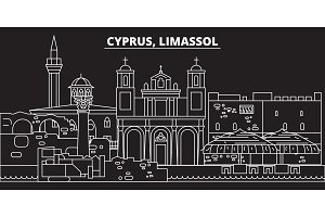 Limassol silhouette skyline. Cyprus - Limassol vector city, cypriot linear architecture, buildings. Limassol travel illustration, outline landmarks. Cyprus flat icon, cypriot line banner