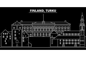 Turku silhouette skyline. Finland - Turku vector city, finnish linear architecture, buildings. Turku travel illustration, outline landmarks. Finland flat icon, finnish line banner