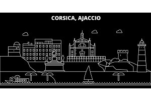 Ajaccio silhouette skyline. France - Ajaccio vector city, french linear architecture, buildings. Ajaccio travel illustration, outline landmarks. France flat icon, french line banner