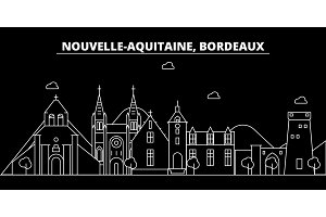 Bordeaux silhouette skyline. France - Bordeaux vector city, french linear architecture, buildings. Bordeaux travel illustration, outline landmarks. France flat icon, french line banner